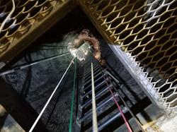 Emergency escape ladder in salt mine