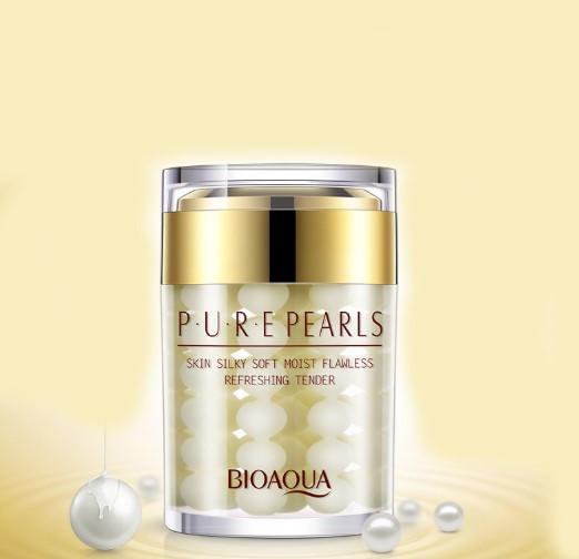 BIOAQUA PURE PEARLS קרם פנים טיפולי מפנינים טהורות וחומצה היאלורונית לשיקום עור הפנים,ממצק, מבהיר מפחית ומונע היווצרות קמטים.