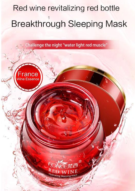 FONCE מסיכת ג'ל ללילה מכילה יין אדום עשיר מאוד בלחות, להאטת הזדקנות העור