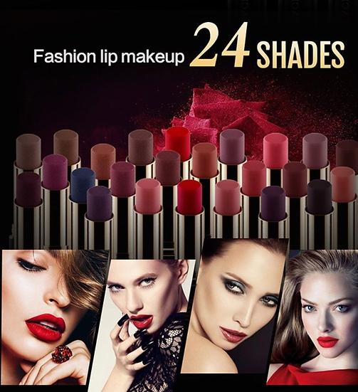 בצבעים נועזים ועמידים מאט ומטאלי NICEFACE גילמור ביוטי - 24 שפתונים של