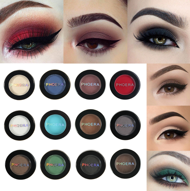 PHOERA Matte Eye Shadow Glitter Eyeshadow Powder 12 Colors  צלליות ספר מאט, בצבעים עשירים מלאות פיגמנט, 12 צבעים לבחירה