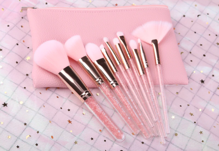 Gilmore Beauty - ZOREYA 10PCS Pink Crystal Makeup Brushes