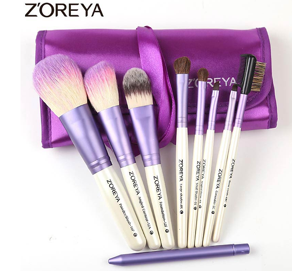 Gilmor Beauty - ZOREYA 9pcs/set purple color makeup brushes Natural Goat hair