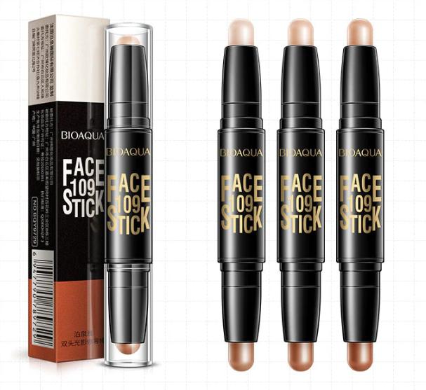 BIOAQUA Concealer Pen Double Head 3D Face Makeup Bronzer Highlighter Stick  קונסילר סטיק קליל לכיסוי מושלם, דו צדדי, מעולה להצללות והבהרות.