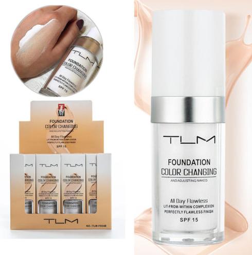 TLM הוא מייק אפ מהפכני חדש נוזלי  לבן ושמתאים את עצמו לצבע העור המדויק שלך המייקאפ עשיר בלחות, מכיל SPF 15 להגנה מהשמש, נספג בקלות על העור, היפואלגני, ועמיד, נבדק ואושר על ידי רופאי עור.