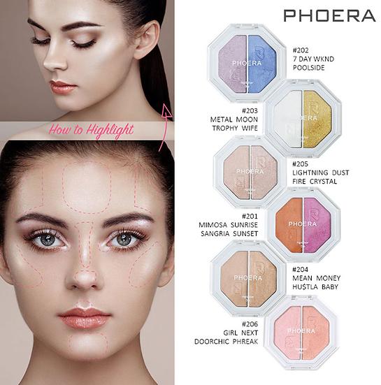 Gilmore Beauty - PHOERA Two-tone Highlighter, Shimmer, EyeshadowWaterproof