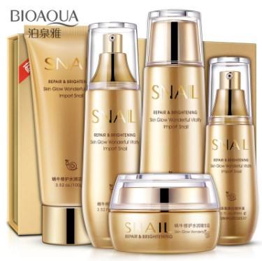 BIOAQUA סט 5 מוצרי חילזון אנטי איג'ינג למיצוק עור הפנים טיפול והגנה מפני קמטים, מעולה, מבהיר כתמים, ממצק, מפחית ומונע קמטים, מחזיר לעור את גמישותו, עשיר בלחות, הופך את העור לרך וזוהר.