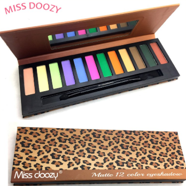Gilmore Beauty - Miss Doozy 12 Color Matte Eyeshadow Pallete Glitter Balm Smoky Brow Cosmetic Makeup
