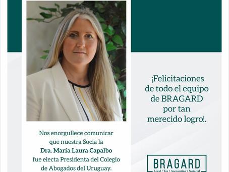 María Laura Capalbo, socia de BRAGARD, fue electa Presidenta del Colegio de Abogados del Uruguay.