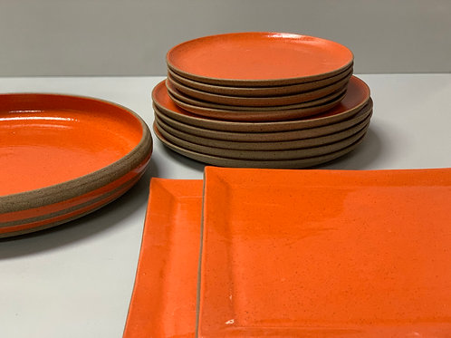 Conjunto de pratos + bowl grande em cerâmica laranja