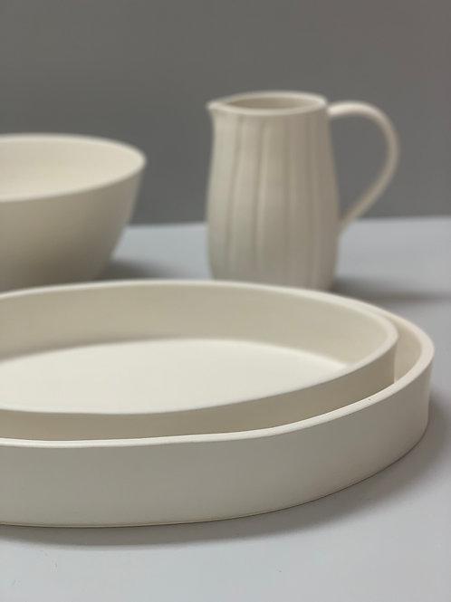 Travessa oval branca em cerâmica