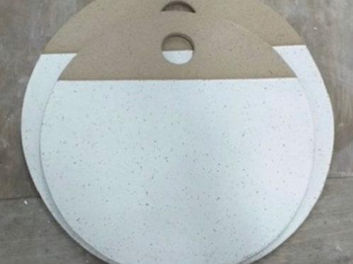Tábua bolacha redonda grande para frios em cerâmica