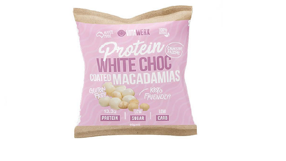 Vitawerx Protein White Chocolate Coated Macadamias