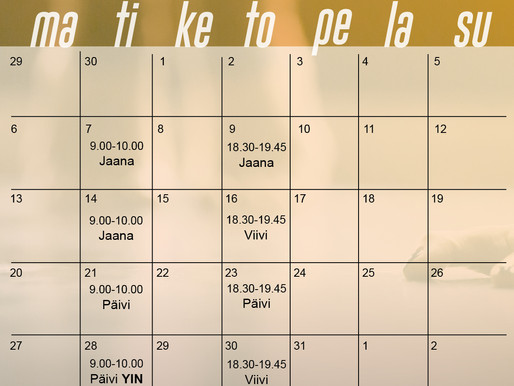 Heinäkuun lukujärjestys