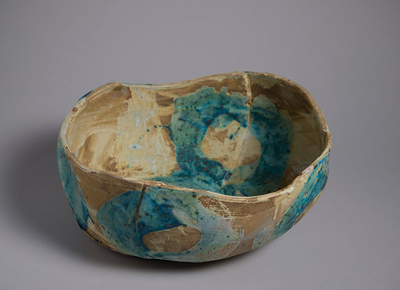Tan Bowl with Turquoise Brushwork