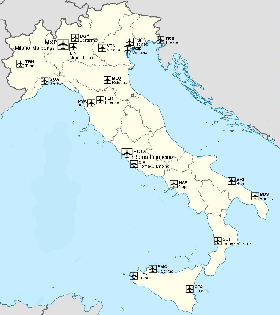 Италия — Трансфер и такси в аэропортах