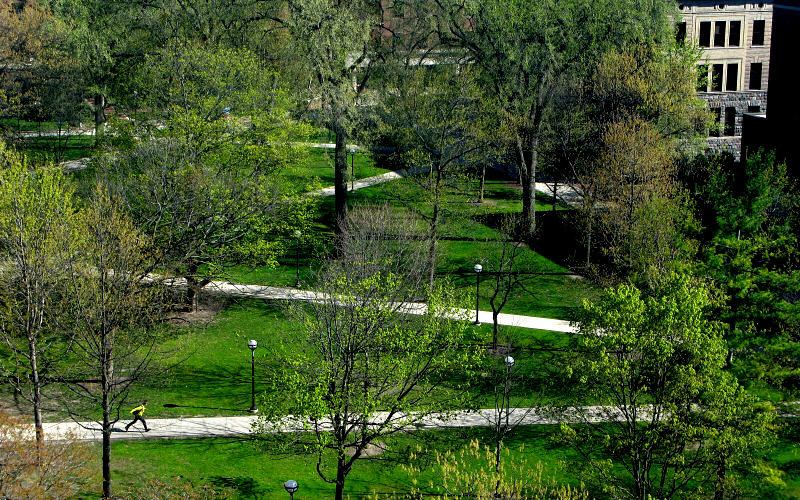 An overhead shot of University of Michigan's Diag during the spring