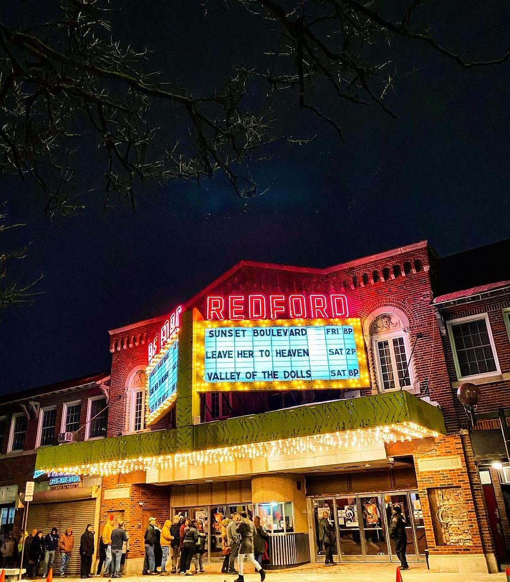 Detroit's Redford Theatre at night