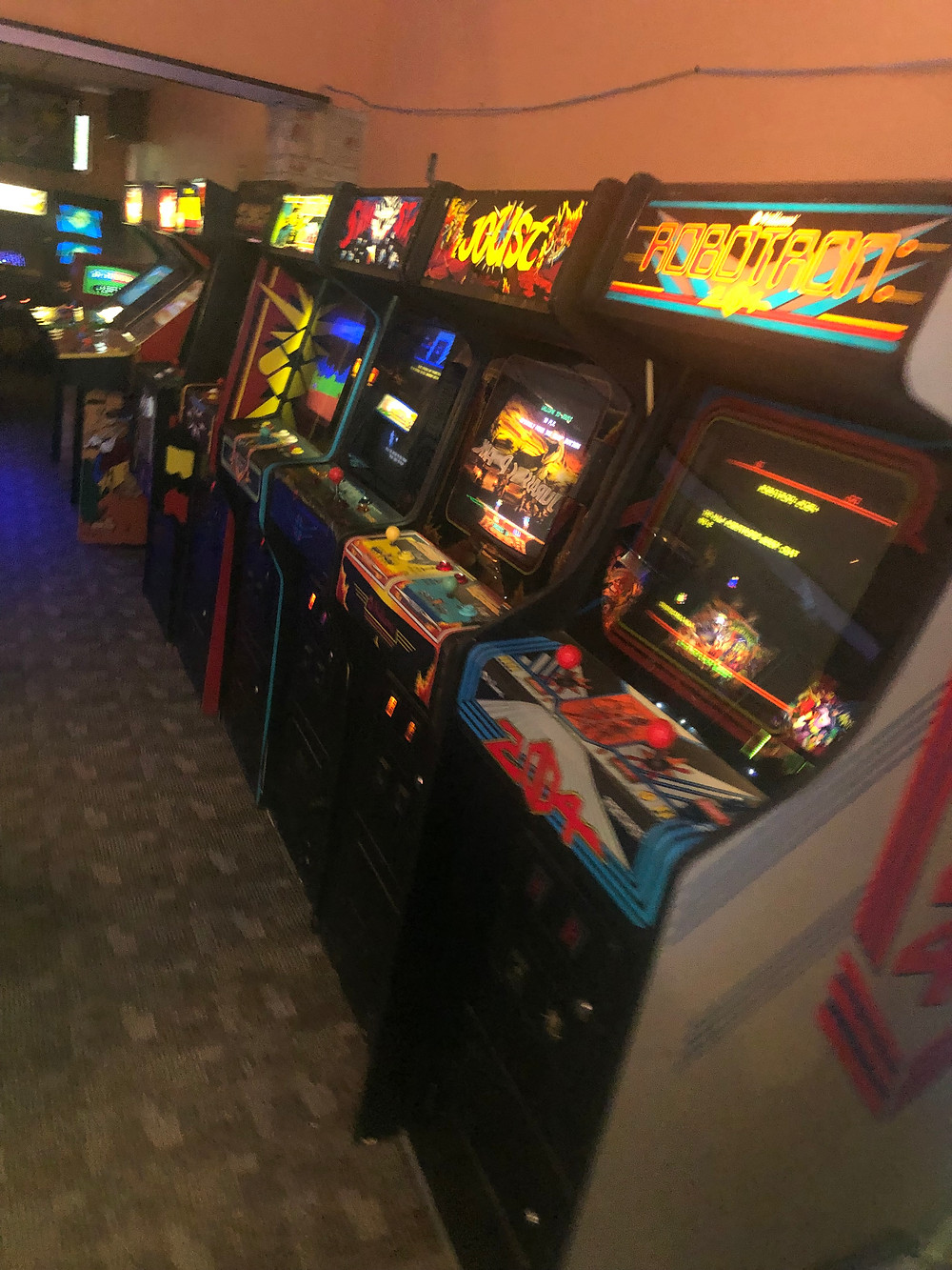 Classic game cabinets in The Arcade