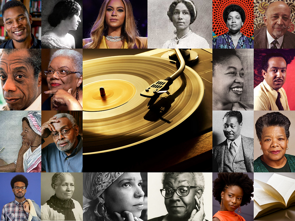 Collage of various black poets. Anne Spencer, Audre Lord, W. E. B. Dubois, Margaret Walker, Langston Hughes, Claude McKay, Maya Angelou, Amanda Gorman, Gwendolyn Brooks, Ntozake Shange, Frances Ellen Watkins Harper, Kaleb A. Brown, Amiri Baraka, Phillis Wheatley, Lucille Clifton, James Baldwin, Terrance, Hayes, Georgia Douglas Johnson, Beyoncé. A record and a needle are in the center of the collage while an open book is on the lower right corner.
