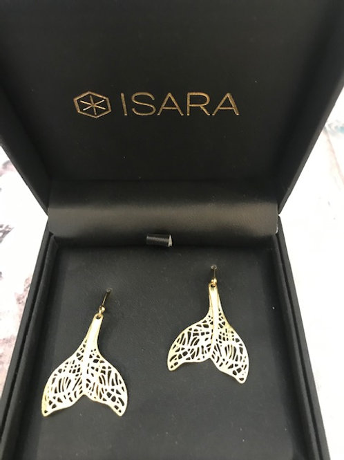 Isara Gold Filigree Whale Tail Earrings