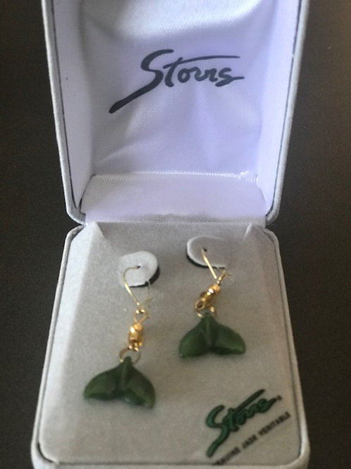 AT Storrs Jade Long Whale Tail Earrings