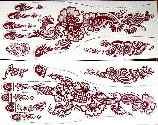Temporary Henna Tattoos - 2 Sheets