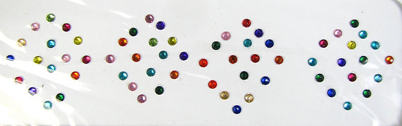 Single Stone Bindis (Assorted Colors) - extra small (2 mm)