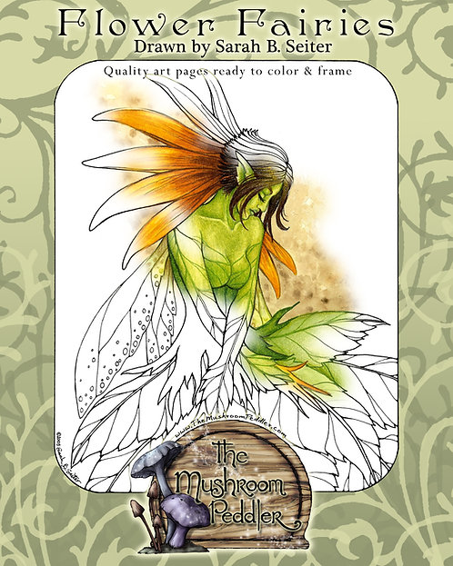 Flower Fairy Art Digital Coloring Packet - 16 pages