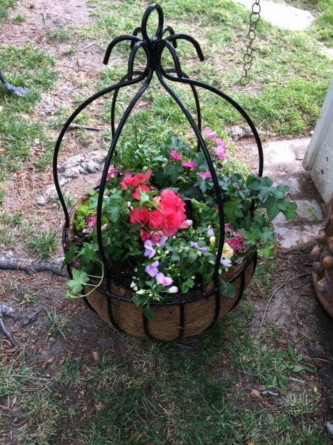 decorative wrought iron hanging basket