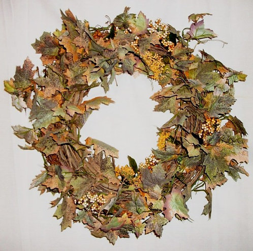 fall door wreath on real grapevine base