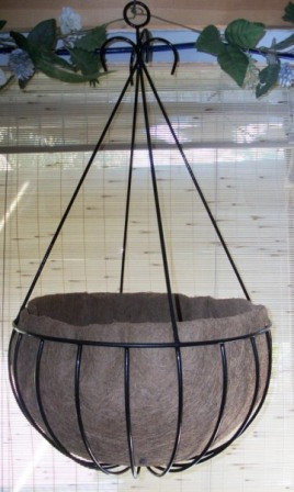 large wrought iron hanging basket