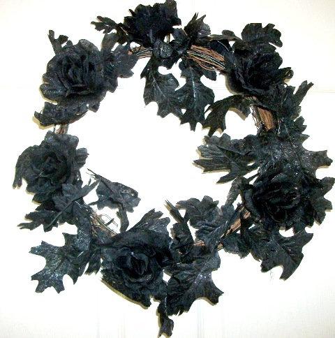 black Halloween door wreath