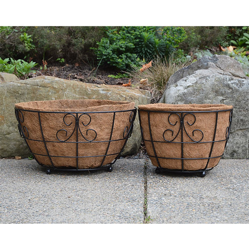 wrought iron flower basket patio planters