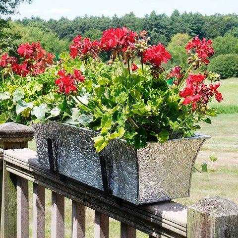 small flower boxes for deck rails