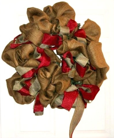 large burlap Christmas wreath