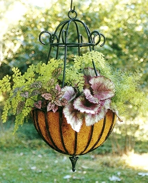 ornate wrought iron hanging basket