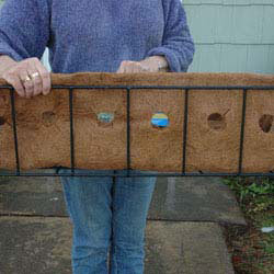 coco liners with pre-cut holes for window boxes