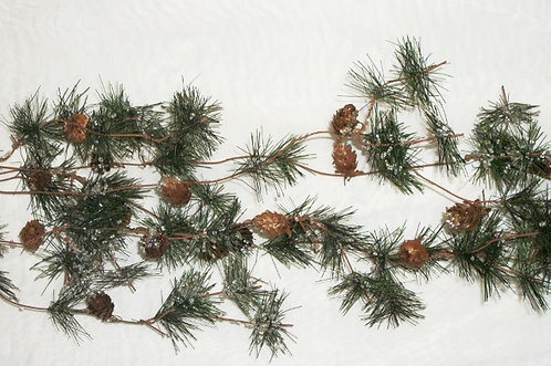 real-looking pine garland with real pinecones