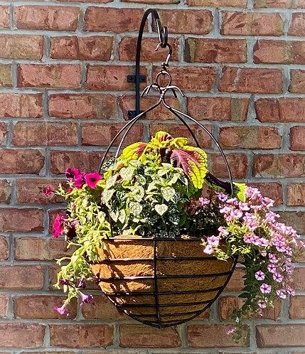 decorative wrought iron hanging basket