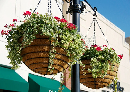 large wrought iron hanging baskets