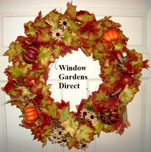 affordable Fall door wreath with pumpkins and gourds