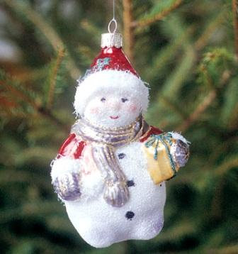 European Glass Christmas Ornament (Snow Girl)