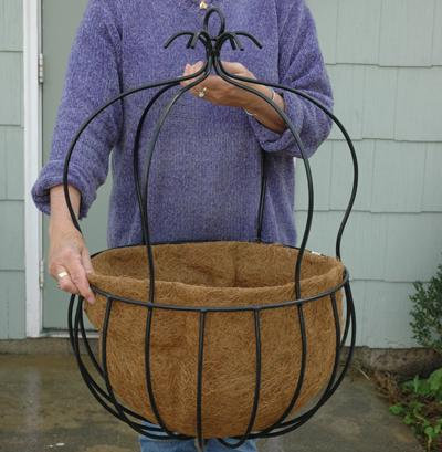 large wrought iron hanging baskets