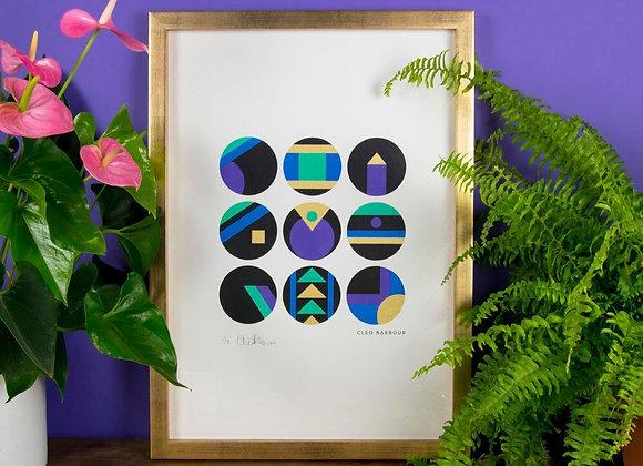 Geometric Silk Screen Print - Unframed