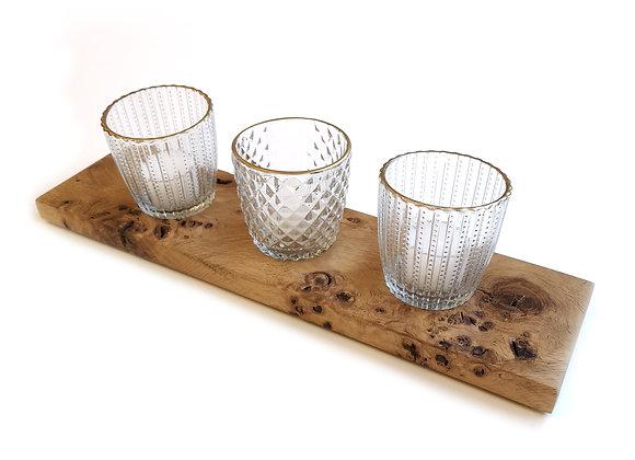 Wooden Glass Tealight Holder
