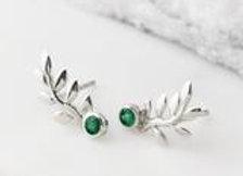 Enchanting Gemstone Leaf Studs - Emerald