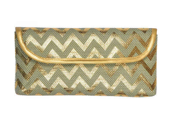Cannes Clutch Bag in Mint/Gold
