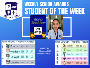 7 September 2021: Weekly Senior Awards