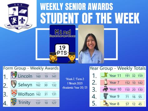 1 March 2021: Weekly Senior Awards